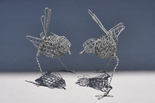 2 Wrens. 2 wire handmade wrens each approximately 13 cm in height x 7 cm wide. FREE SHIPPING IN AUSTRALIA