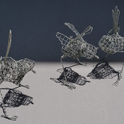 3 life size Wrens by Lucy McCann