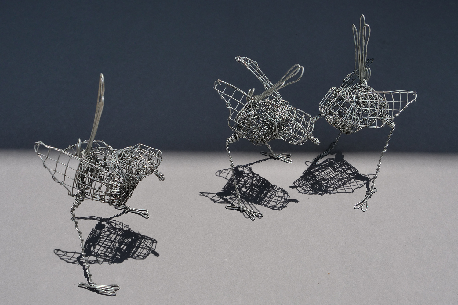 3 Wrens. 3 wire handmade wrens each approximately 13 cm in height and 7 cm wide.