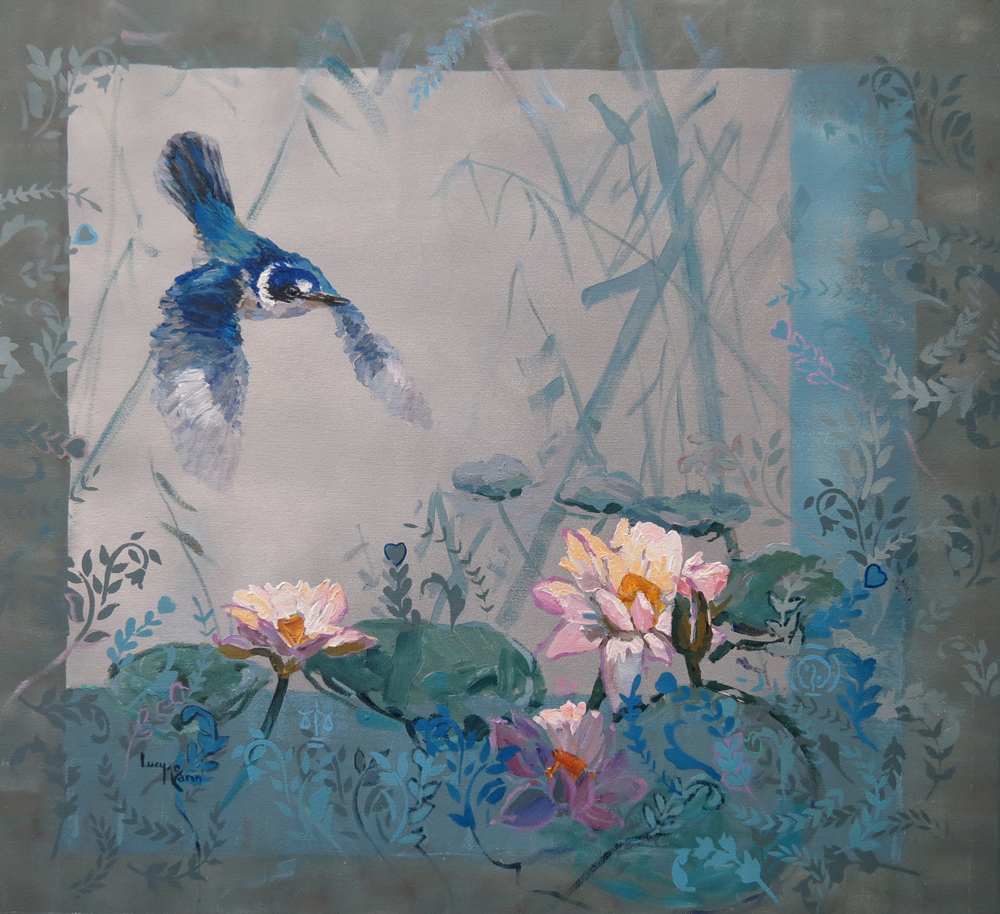 Flight over the Lily Pond 64cm x 61cm acrylic by Lucy McCann