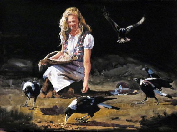 Last Crumbs 56cm x 76cm watercolour by Lucy McCann