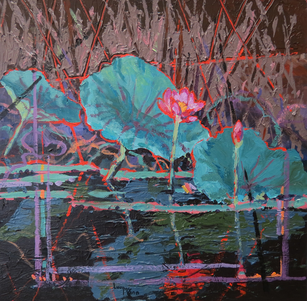 Lotus in Red 25cm x 25cm acrylic by Lucy McCann