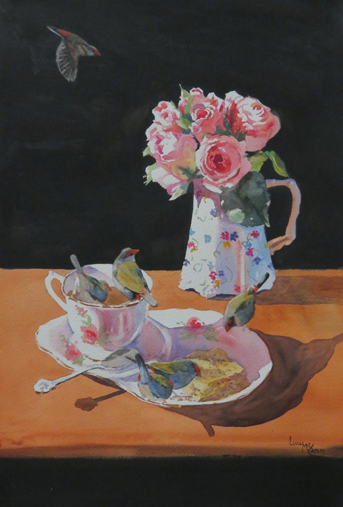 Poppy Seed Cake 56cm x 38cm watercolour by Lucy McCann
