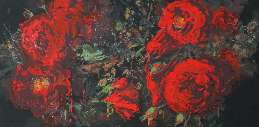 Red and Berries 95cm x 45cm acrylic by Lucy McCann