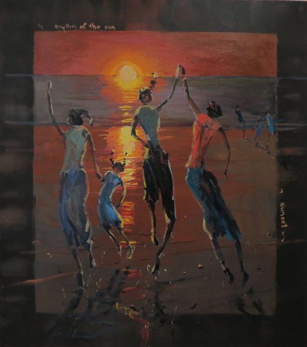 Rhythm of the Sea – Sunset 65cm x 84cm acrylic by Lucy McCann