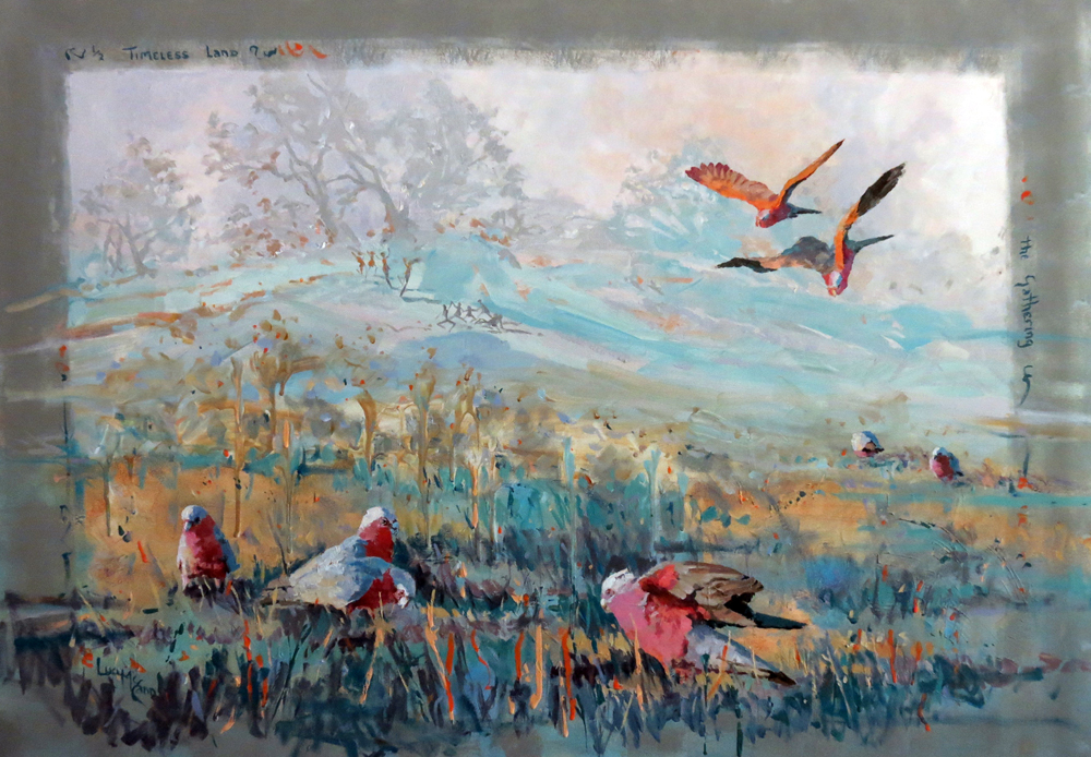 Timeless Land – The Gathering 110cm x 70cm acrylic by Lucy McCann