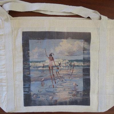 #2 Calico bag 100% cotton, medium handle braid detail, 485 x 330 mm with a 120 mm gusset original, original artwork