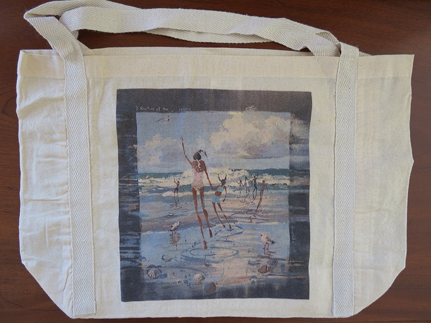 #2 Calico bag 100% cotton, medium handle braid detail, 485 x 330 mm with a 120 mm gusset original, original artwork