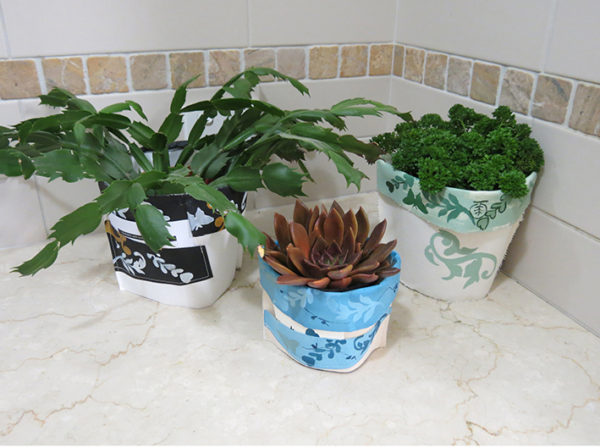 #7. 1 x small pot plant cover fits up to and including a 10 cm pot, handmade, original artwork and a blank gift card