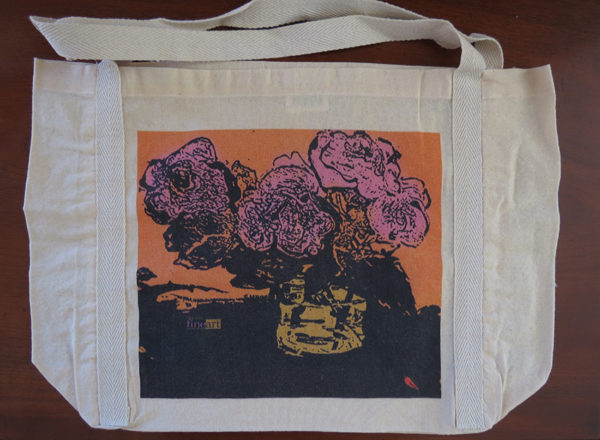 #1 Calico bag 100% cotton, medium handle braid detail, 485 x 330 with a 120 mm gusset, original artwork