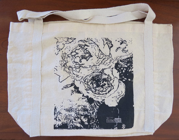 #3 Calico bag 100% cotton, medium handle with braid detail, 485 x 330 mm with a 120 mm gusset, original artwork