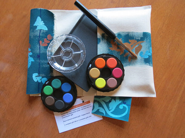 #11 Watercolour cover, handmade, original artwork, includes A6 hardcover book, 12 w/c paints, a blank gift card and a McCann Fine Art Travel Brush