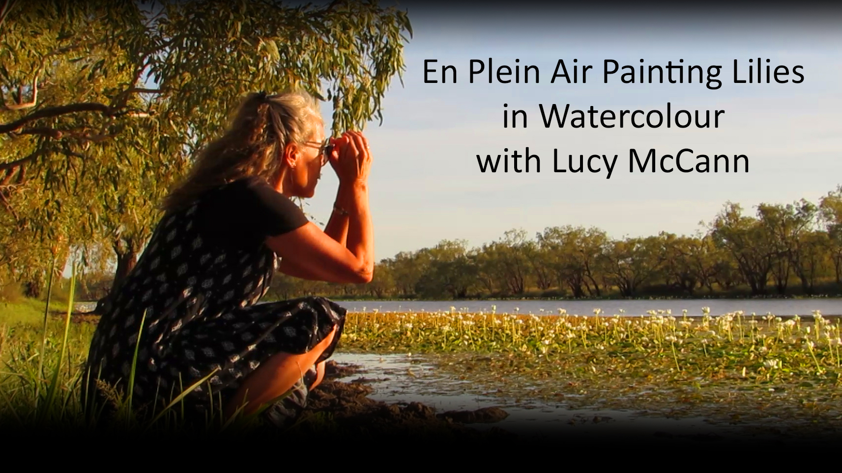 En plein air painting lilies in watercolour with Lucy McCann